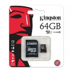 Card de memorie Kingston, MicroSDHC, 64GB, Class 10, UHS-I + Adaptor