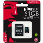 Card de memorie Kingston, MicroSDXC, 64GB, Class 10, UHS-I + Adaptor